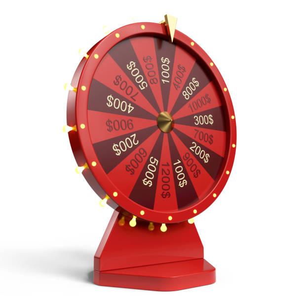 3d illustratie rode wiel van geluk of fortuin. realistische spinnewiel fortuin. rad fortuin geïsoleerd op een witte achtergrond. - ronddraaien stockfoto's en -beelden