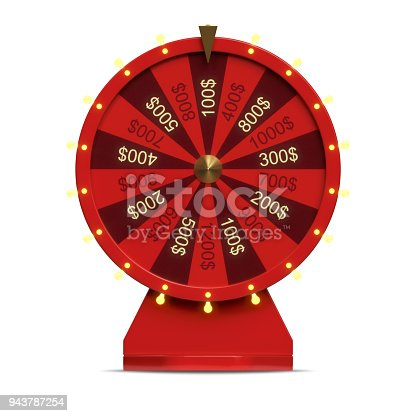 istock 3d illustration red wheel of luck or fortune. Realistic spinning fortune wheel. Wheel fortune isolated on white background. 943787254