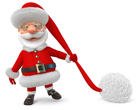 3d illustration Santa Claus in a cap with a big pompom