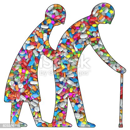 istock 3d Illustration silhouette of a old couple filled with drugs or medication pills 825356718