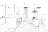 Sketch of modern dining room