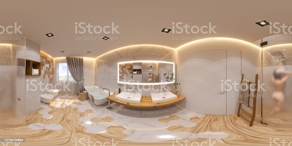 3d Illustration Spherical 360 Degrees Seamless Panorama Bathroom Interior Design Stock Photo Download Image Now Istock