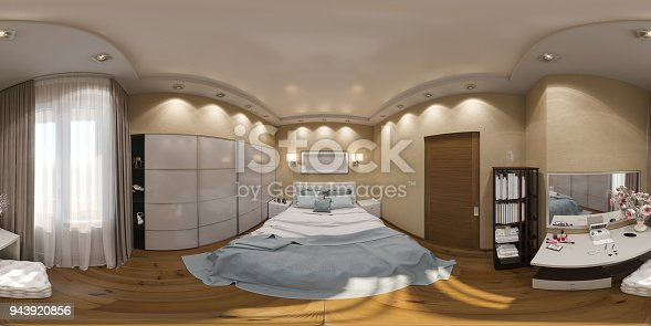 938518926istockphoto 3d illustration spherical 360 degrees, seamless panorama of bedroom interior design 943920856