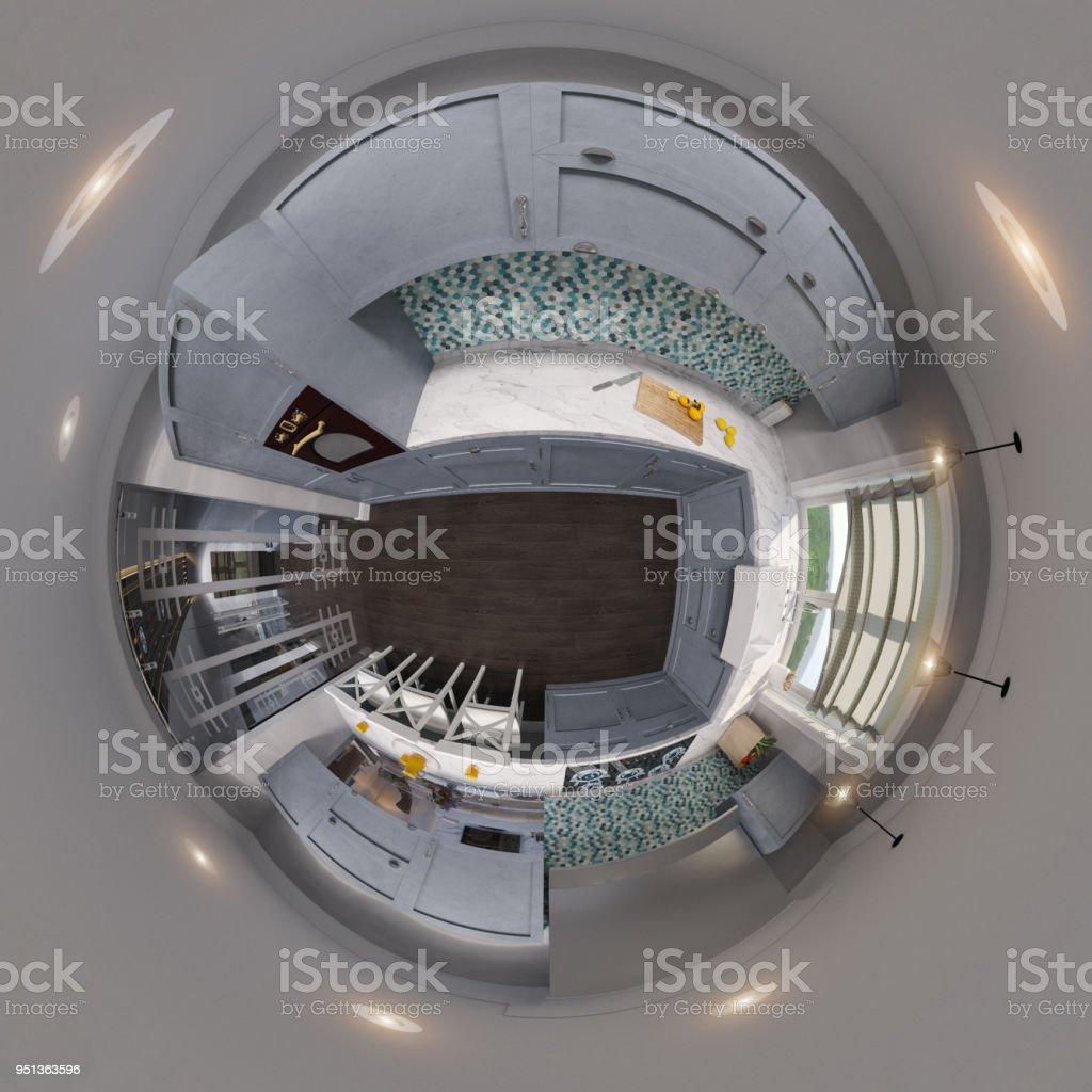 3d Darstellung Sphärischer 360 Grad Nahtlosen Panorama Der Küche ...