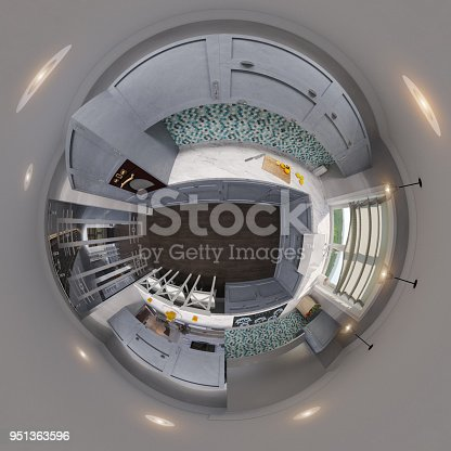 938518926istockphoto 3d illustration spherical 360 degrees, seamless panorama of kitchen interior design 951363596