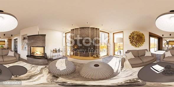 istock 3d illustration spherical 360 degrees, seamless panorama of living room and kitchen interior design 1008495632