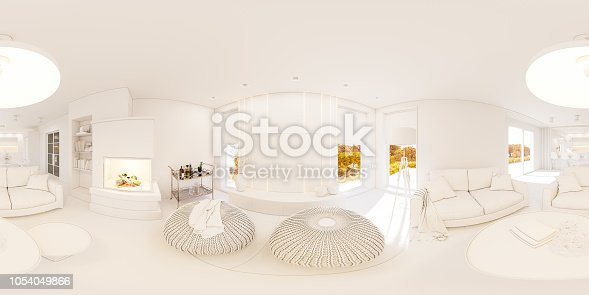 istock 3d illustration spherical 360 degrees, seamless panorama of living room and kitchen interior design 1054049866