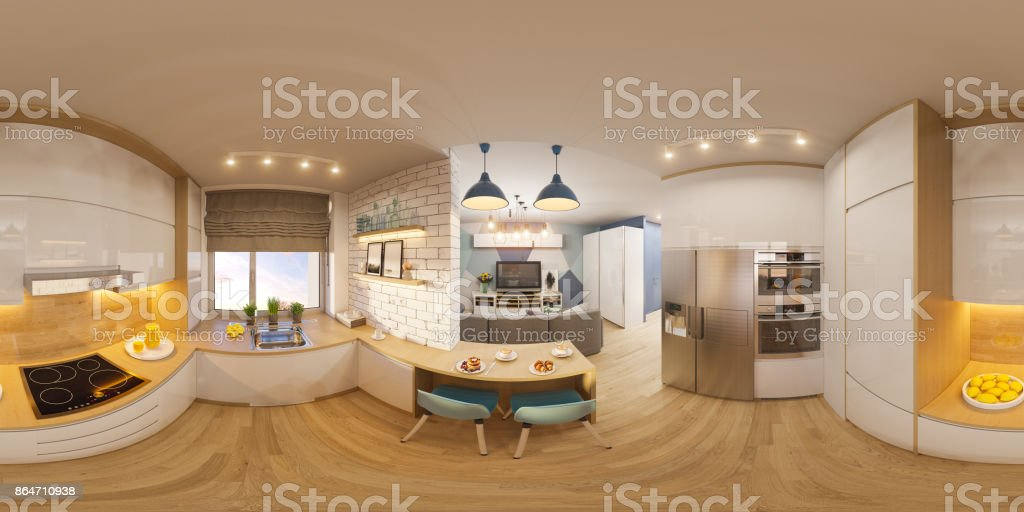 3d illustration spherical 360 degrees, seamless panorama of living room interior design. Modern studio apartment in the Scandinavian minimalist style stock photo
