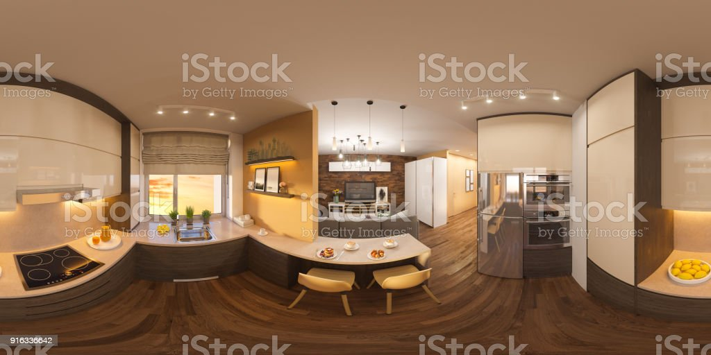 3d illustration spherical 360 degrees, seamless panorama of living room and kitchen interior design. Modern studio apartment in the Scandinavian minimalist style stock photo