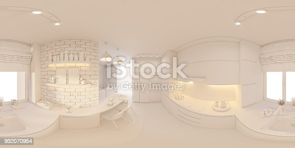 938518926istockphoto 3d illustration spherical 360 degrees, seamless panorama of living room and kitchen interior design 932070954