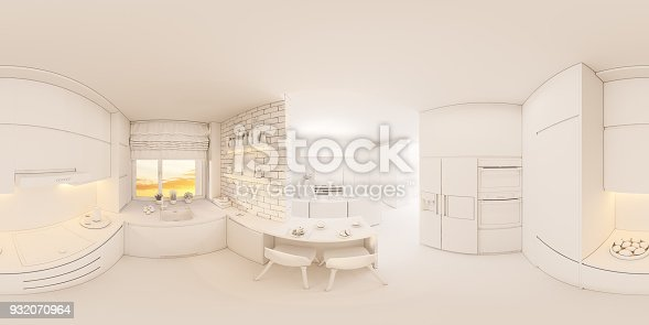 938518926istockphoto 3d illustration spherical 360 degrees, seamless panorama of living room and kitchen interior design 932070964