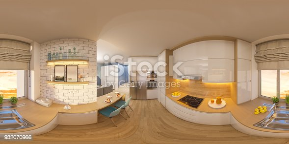938518926istockphoto 3d illustration spherical 360 degrees, seamless panorama of living room and kitchen interior design 932070966