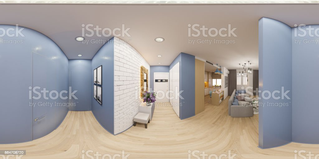 3d illustration spherical 360 degrees, seamless panorama of the stock photo