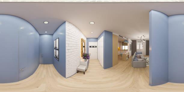 3d darstellung sphärischer 360 grad, nahtlosen panorama von der - eingangshalle wohngebäude innenansicht stock-fotos und bilder