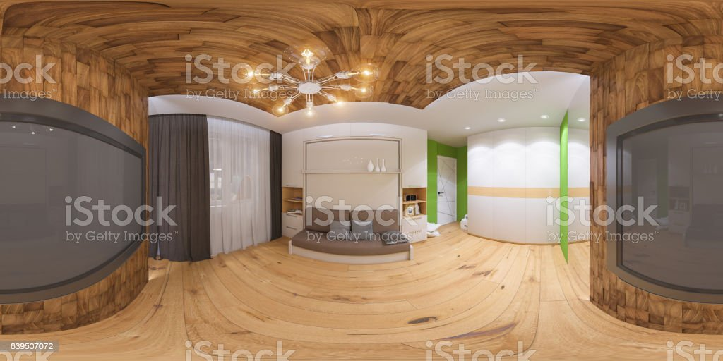 3d illustration spherical 360 degrees, seamless panorama stock photo