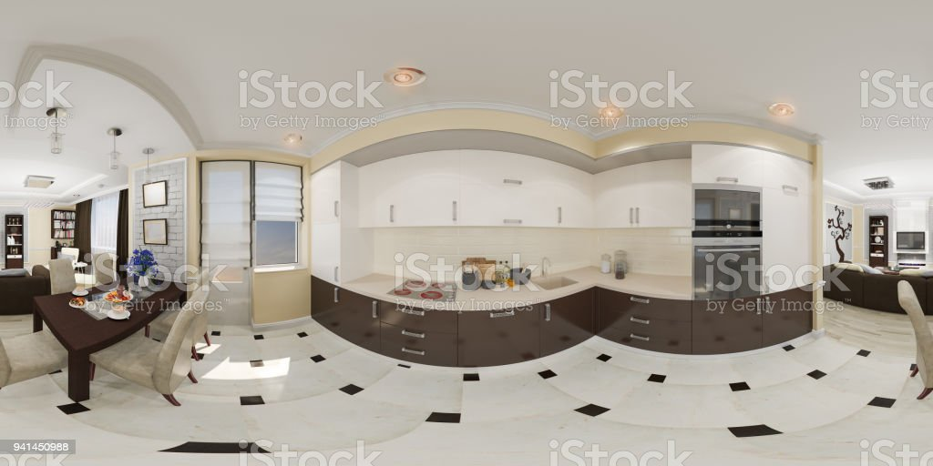 3d Darstellung Spharischer 360 Nahtlosen Panorama Der Kuche Stock
