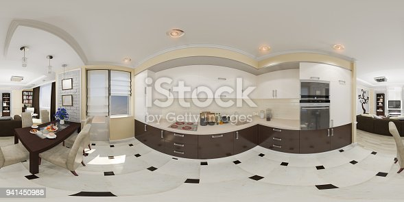 938518926istockphoto 3d illustration spherical 360 seamless panorama of kitchen 941450988