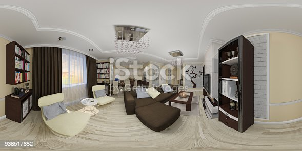 938518926istockphoto 3d illustration spherical 360 seamless panorama of living room and kitchen interior design 938517682