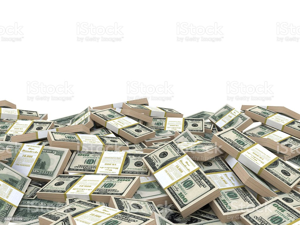 3d illustration stack of dollars heap, over white background stock photo