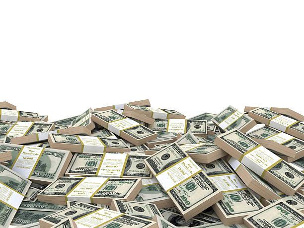 3 d illustrazione pila di dollari mucchio, su sfondo bianco - foto stock