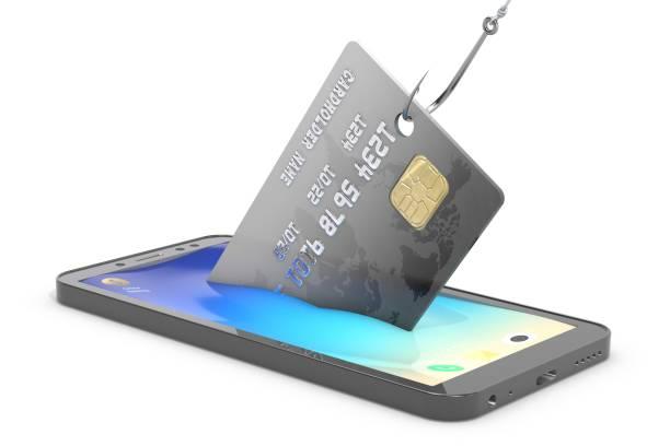 """""""3d-illustration: kreditkarten von einem mobiltelefon mit einem angelhaken stehlen. metapher. sicherheit personenbezogener daten, datenschutz. sicherheit der zahlungen. - bankhaken stock-fotos und bilder"""