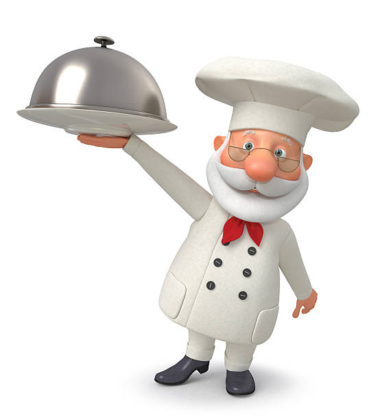 3d illustration the cook with a dish - sequence animation fotografías e imágenes de stock