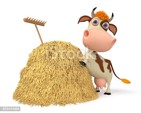 624869600 istock photo 3d illustration the cow costs near a haystack 623444064