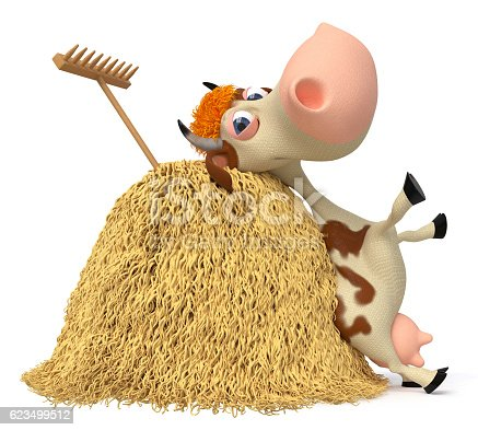 624869600 istock photo 3d illustration the cow costs near a haystack 623499512