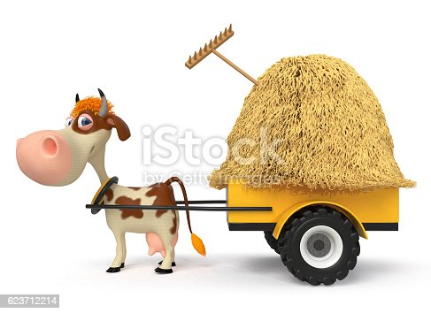 624869600 istock photo 3d illustration the cow is lucky the cart with hay 623712214