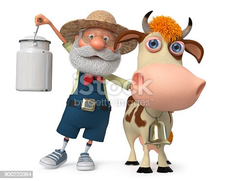624869600 istock photo 3d illustration the farmer with a cow 900220364