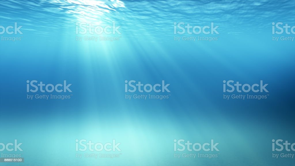 3d illustration underwater scene with air bubbles floating up and sun shining stock photo