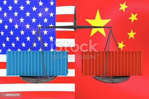 928696036 istock photo 3d illustration: Vintage scales with red and blue cargo containers on the background of the American and Chinese flags. Economic balance. Trade war. Political motive. Amicable agreement. Metaphor 1169959781
