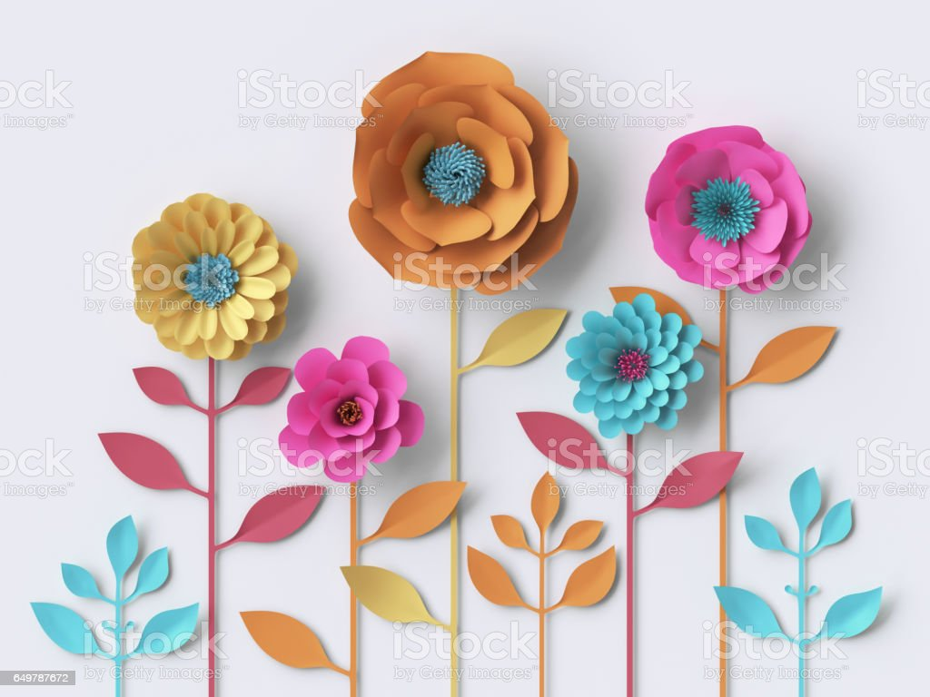 3d illustration, vivid paper flowers, bright holiday floral background, Mother's day greeting card, easter wallpaper stock photo
