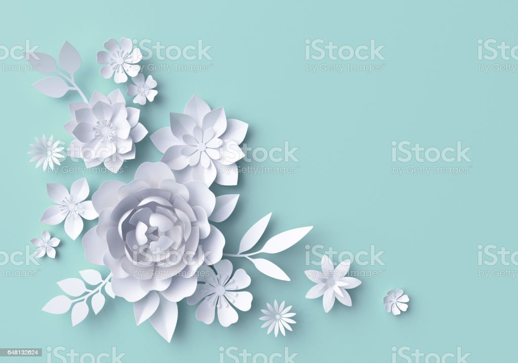 3d illustration, white paper flowers, pastel decorative floral background, turquoise stock photo