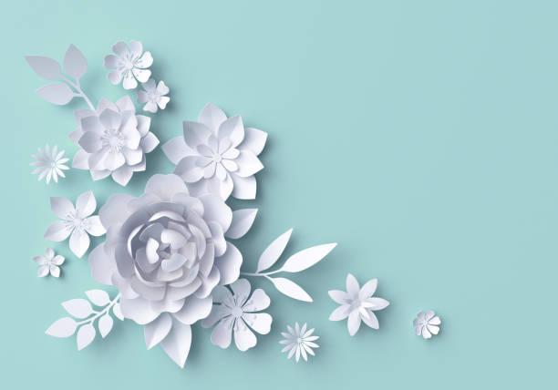 3d illustration, vita pappersblommor, pastell dekorativa blommig bakgrund, turkos - flower bouquet blue and white bildbanksfoton och bilder