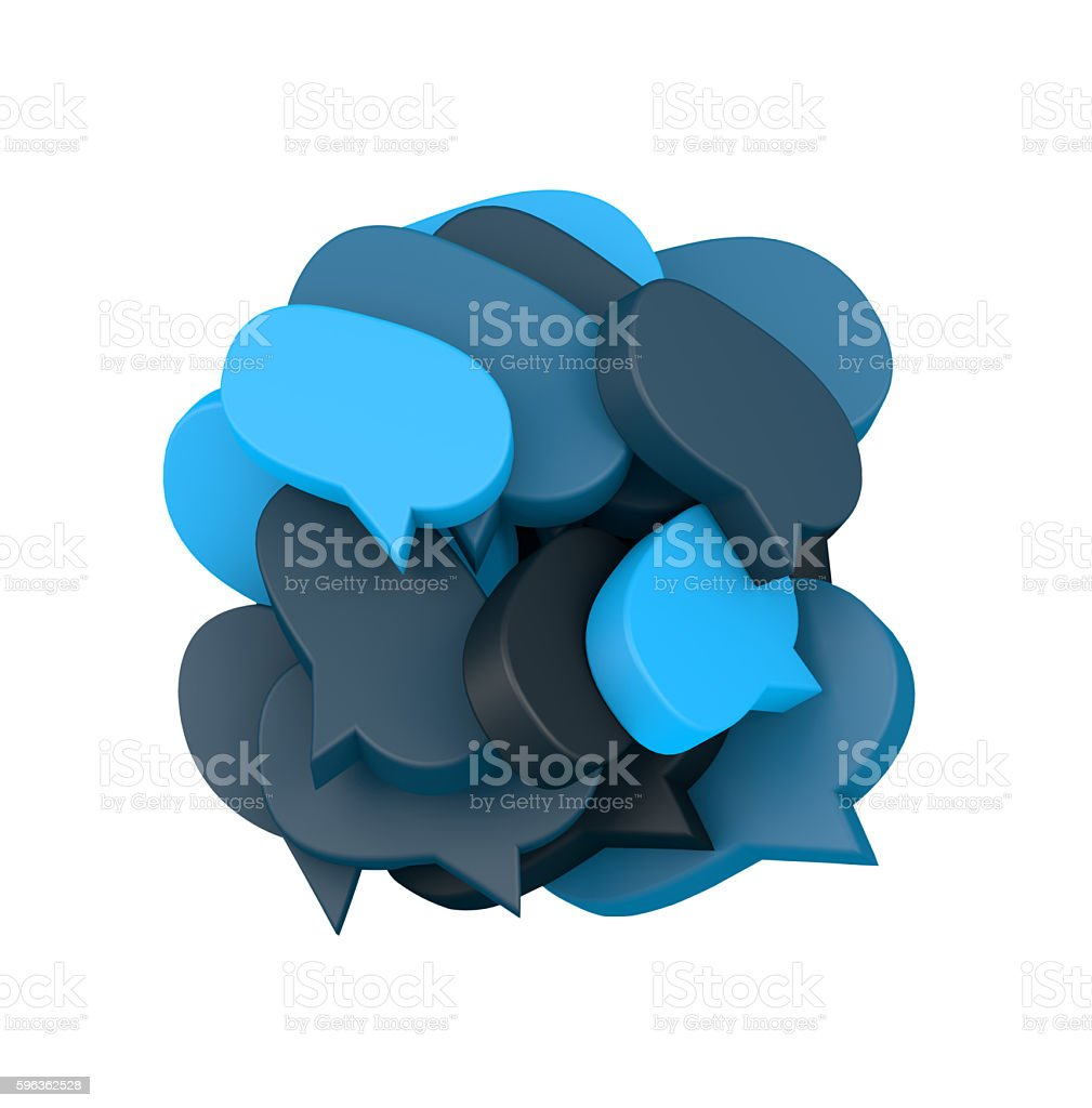 3d illustration with many colored speech bubbles stock photo