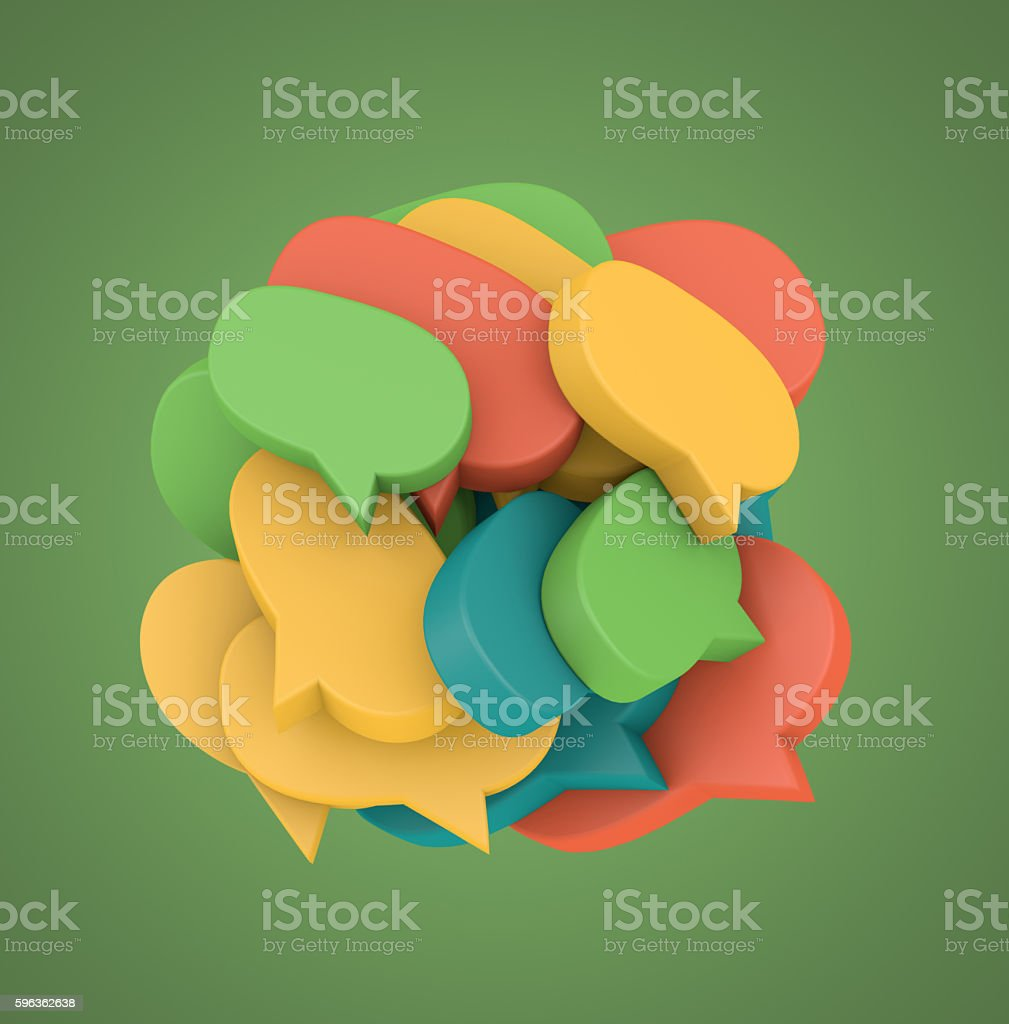 3d illustration with many colored speech bubbles royalty-free stock photo