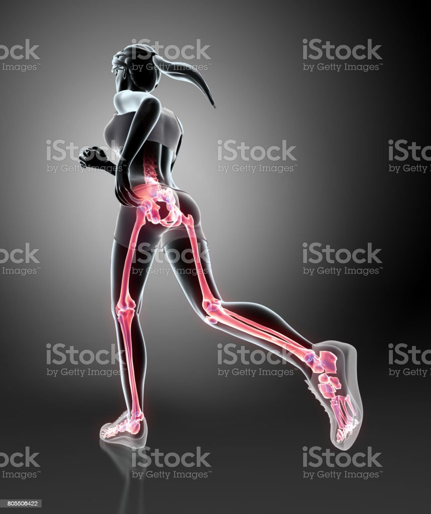 3d illustration - woman runing pose. stock photo