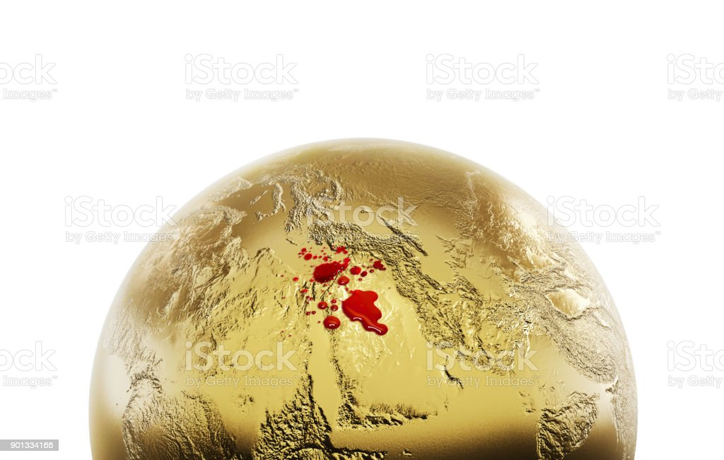 3d iluustrarion of metalic globe pointed to middle east with blood stock photo