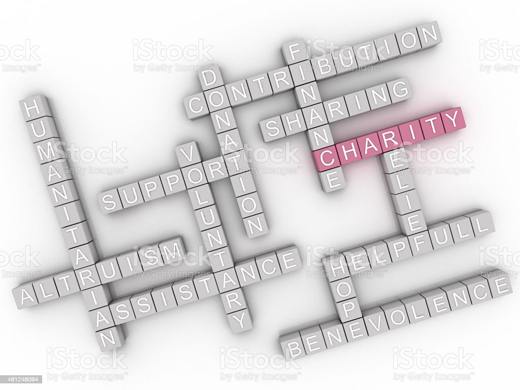 3d image Charity  issues concept word cloud background stock photo