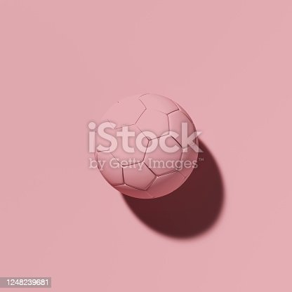 992854608 istock photo 3d image, colorful pink classic soccer ball on a pink background 1248239681