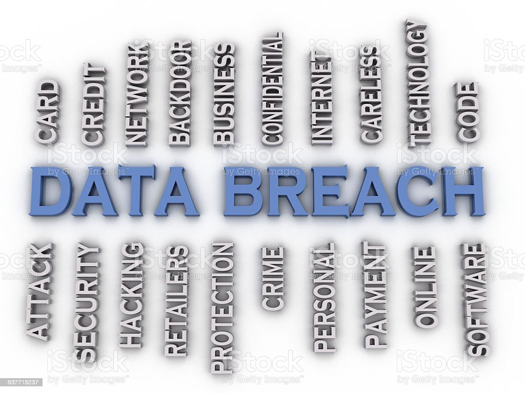 3d image Data Breach issues concept word cloud background stock photo