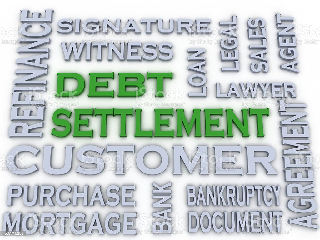 3d image Debt settlement  issues concept word cloud background stock photo