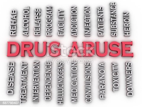 istock 3d image Drug Abuse issues concept word cloud background 537793407