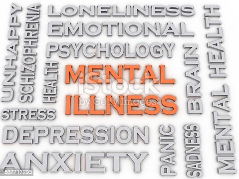 istock 3d image Mental illness issues concept word cloud background 537717293