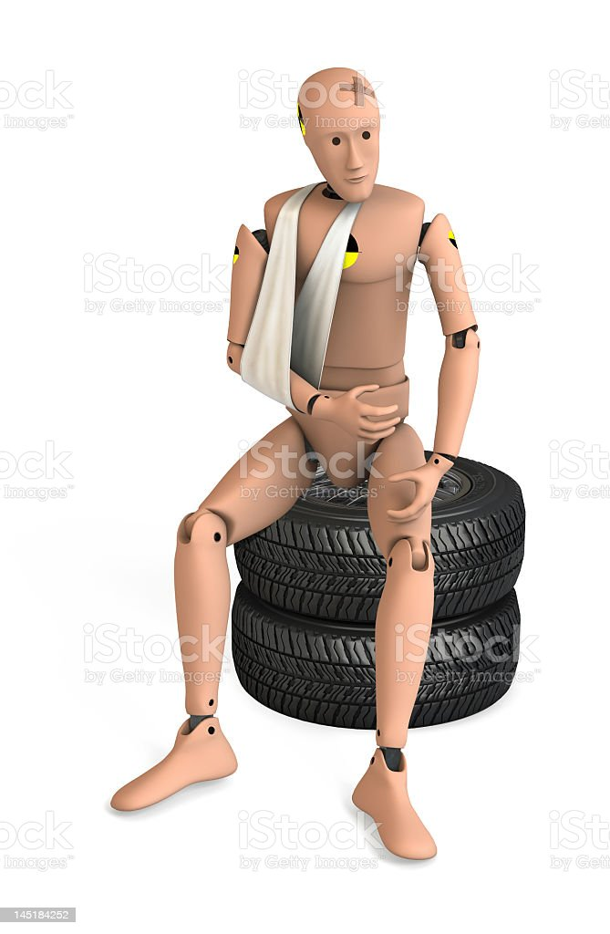 3d image of an injured crash test dummy on tires stock photo