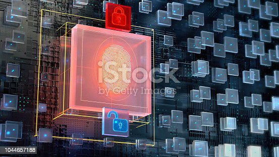 istock 3d image of blockchain abstract background with big digital fingerprint authorisation block and two glowing padlock icons. Biometric authentication concept, render illustration 1044657188