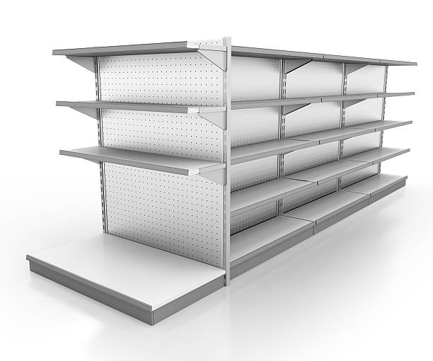 3d image of empty supply shelves stock photo