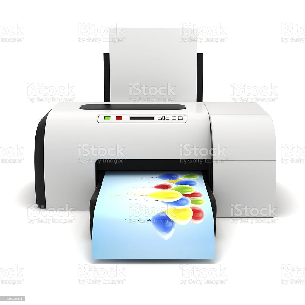 3d image of home printer and documents stock photo