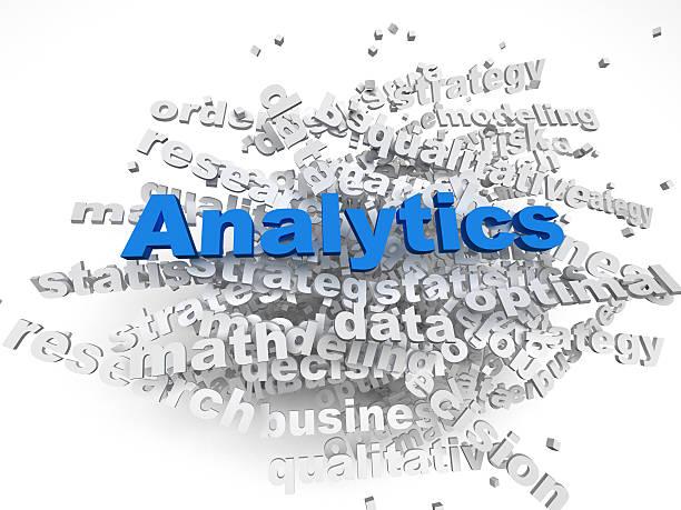 3 d imagen Analitics concepto de nube de palabras de fondo - foto de stock